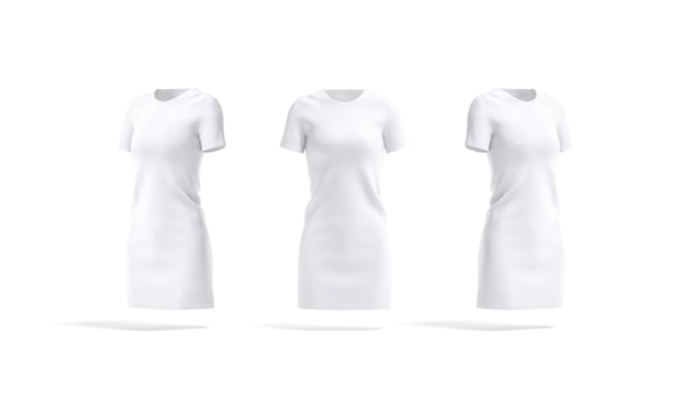 Blank white cloth dress mockup front and side empty female cotton long teeshirt or frock mock up