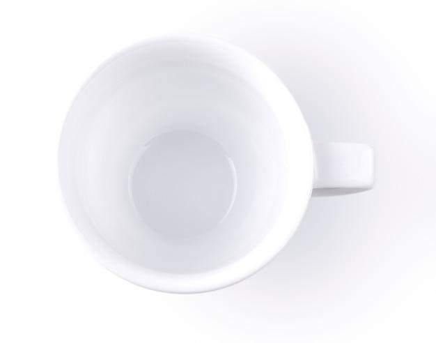 白い背景に分離された空白の白いコーヒー カップ
