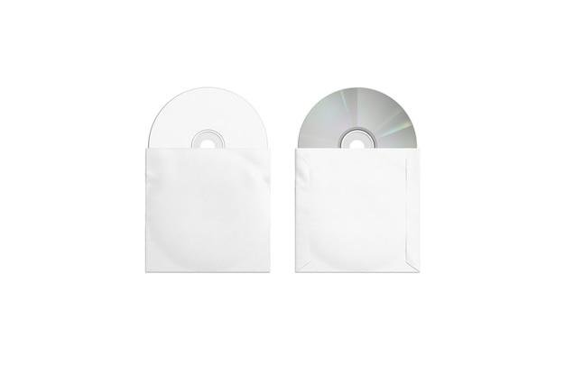 Пустые белые компакт-диски, упаковка макета, верхняя и задняя сторона