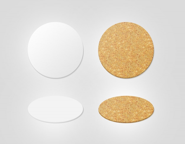 Blank white and cork textured beer coasters