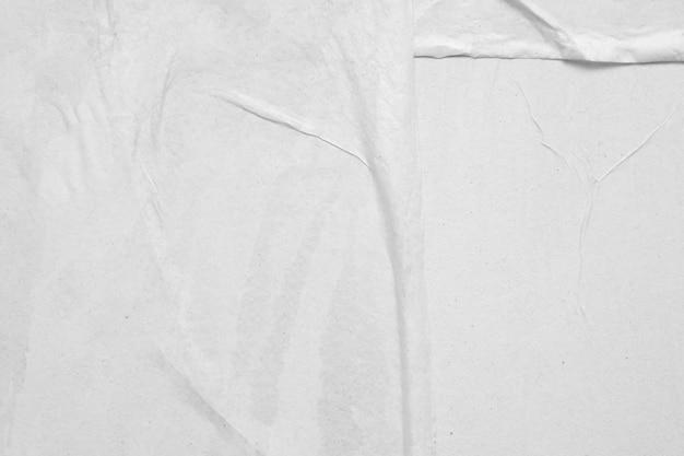 빈 흰색 구겨진 및 주름 잡은 종이 포스터 질감 배경