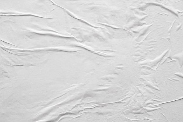 빈 흰색 구겨진 및 주름 잡은 종이 포스터 텍스처