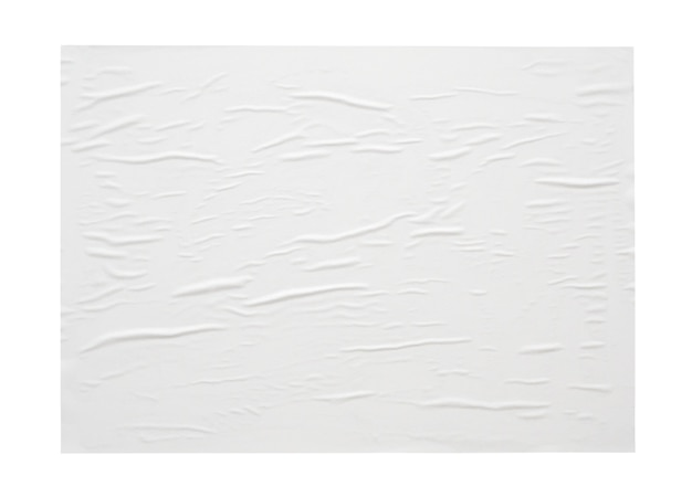 Blank white crumpled and creased paper sticker or poster texture isolated on white background