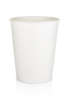Blank white disposable paper or cardboard food bucket isolated
