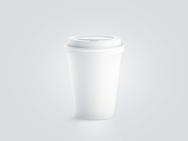 Blank white disposable paper cup with plastic lid mock up