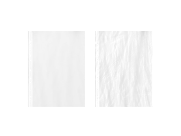 Blank white empty a4 transparent plastic sleeve , plain and creased