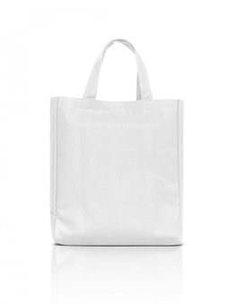 Blank white fabric canvas bag isolated on white
