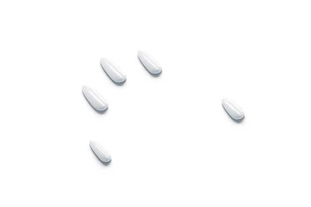 Blank white fake nails mockup set arm simulation empty plasic artificial fingernails mock up
