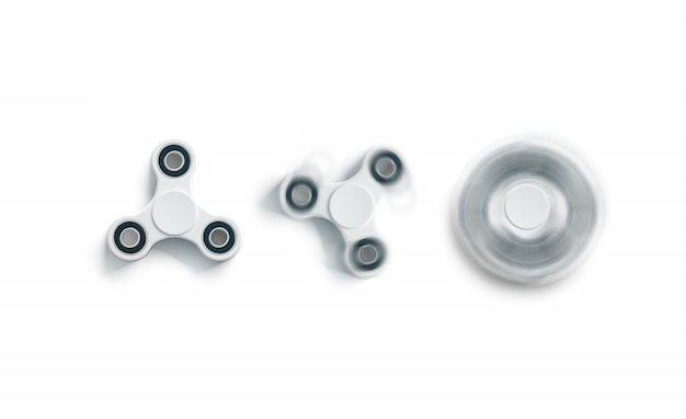 Blank white fidget spinner , static and spin, top view