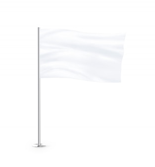 Blank white flag mock up stand