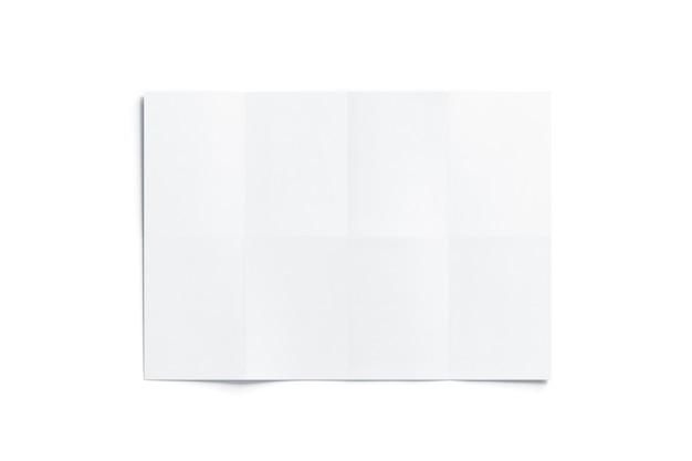 Пустая белая сложенная карта, изолированные, вид сверху, 3d-рендеринг.