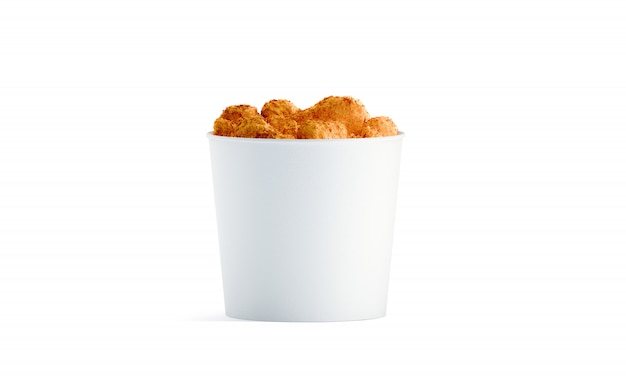Blank white food bucket with chicken wings  isolated