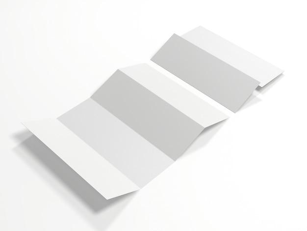 白で隔離の空白の白い4つ折りマップ。 3dレンダリング。