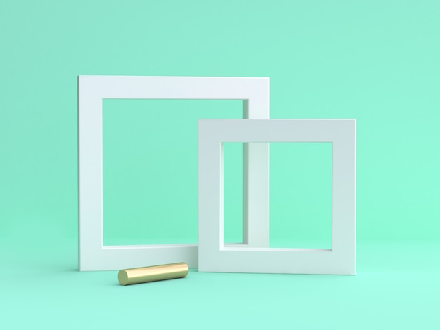 Blank white frame minimal on green 3d rendering