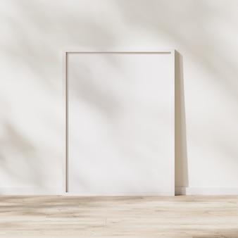빈 흰색 프레임 조롱, 흰색 벽에 나뭇잎 그림자가 있는 햇빛이 있는 나무 바닥의 포스터 프레임, 3d 렌더링