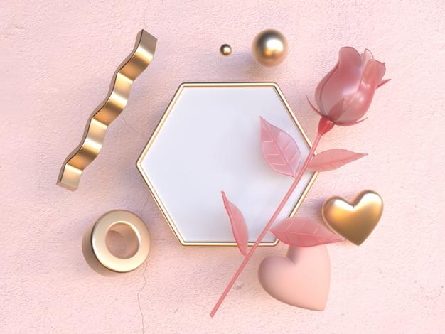 Blank white frame pink rose valentine concept 3d rendering
