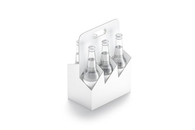 Blank white glass berr bottle cardboard holder mockup empty carton pack for alcohol carrier mock up