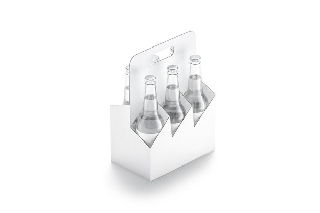 空白の白いガラスのberrボトル段ボールホルダーモックアップアルコールキャリアモックアップ用の空のカートンパック
