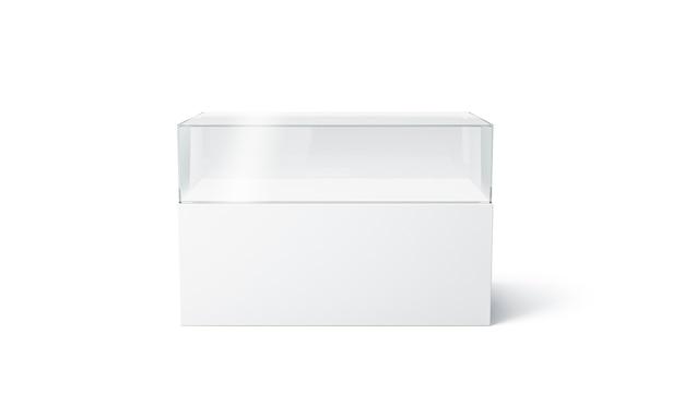 Пустая белая стеклянная витрина экспо, изолированная, 3d-рендеринг.