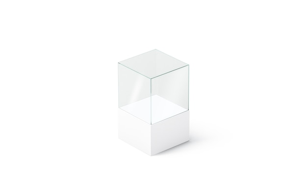 Blank white glass podium cube , isolated, side view, 3d rendering. empty acryl vitrine. clear display box for boutique sale or exhibit .