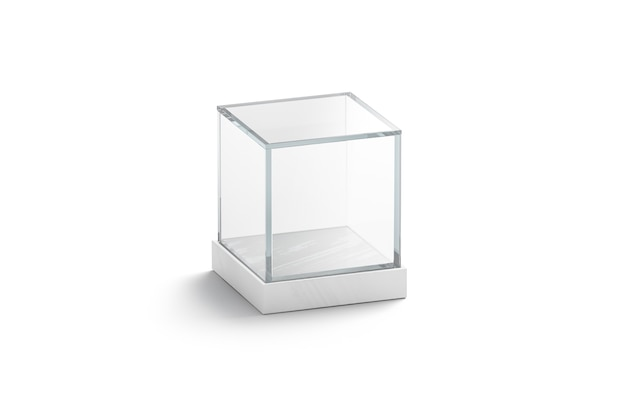 Blank white glass showcase cube