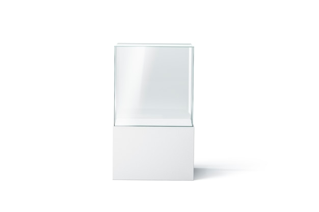 Blank white glass showcase , isolated, front view, 3d rendering. empty presentation podium . clear transparent exhibition box . glass vitrine for boutique or gallery.