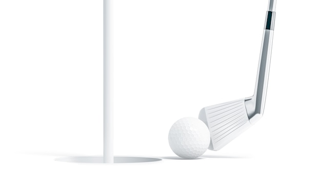 Blank white golf ball near hole with stick
