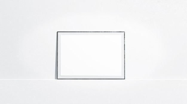 Blank white horizontal paper poster mock up stand at gallery wall, front view