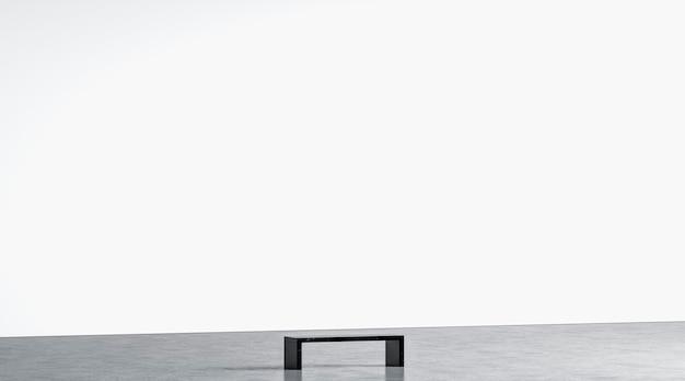 Пустая белая огромная стена галереи со скамейкой в музейном макете, вид сбоку пустая широкая арт-студия макет