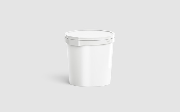 Пустое белое ведерко для мороженого, вид спереди наполовину