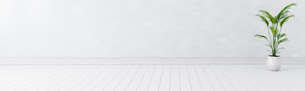 빈 흰색 인테리어 룸 배경 배너, 빈 흰색 벽 c 흰색 나무 바닥 넓은 배너, 현재 콘텐츠 광고 배너 제품 디자인 이랑의 복사 공간 표시 제품. 3d 일러스트