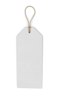 Blank white label isolated on white. front view. template label close-up. 3d illustration.