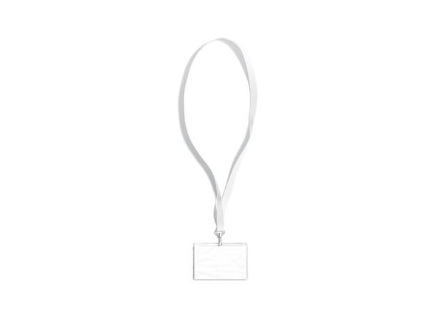 名刺のモックアップが分離された空白の白いストラップロープホルダーのモックアップに空の水平名札