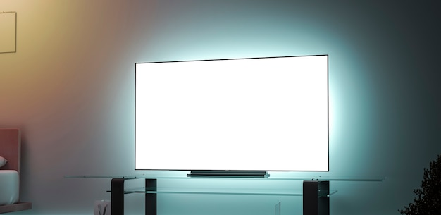 Blank white large tv screen interior in darkness mockup, side view