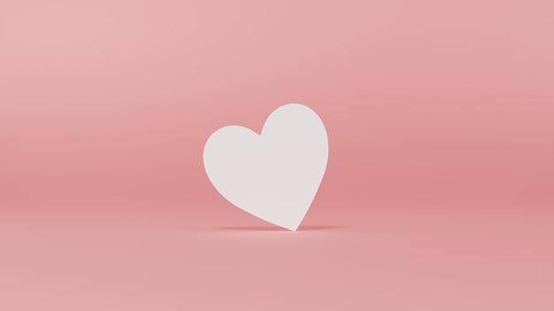 ピンクのパステルカラーの背景に分離された空白の白い愛のハートカード最小限の概念的な3d