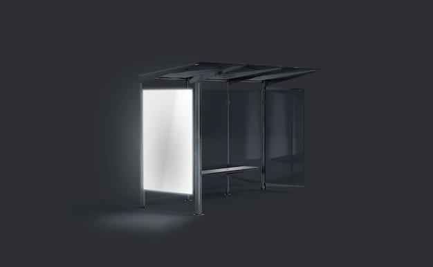 Blank white luminous light box on bus stop in darkness