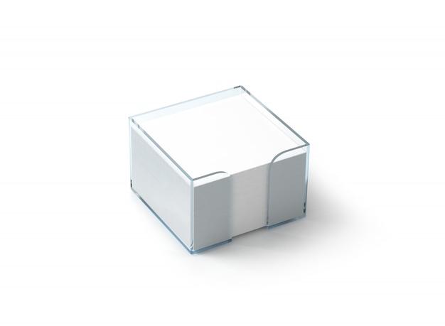 空白の白いメモ用紙ブロックプラスチックホルダー