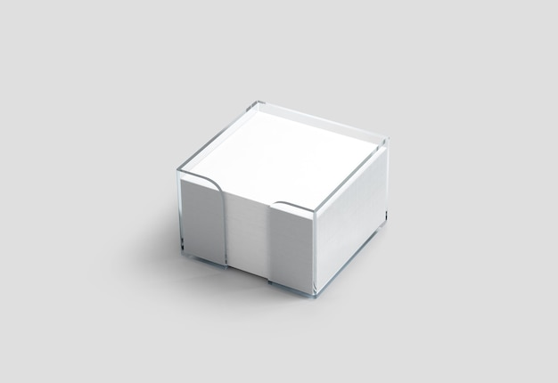 Blank white note paper cube plastic holder mockup