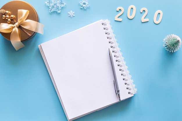 Blank white notebook for new year resolutions