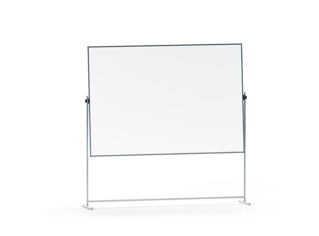 空白の白いオフィスマーカーボードモックアップ、分離
