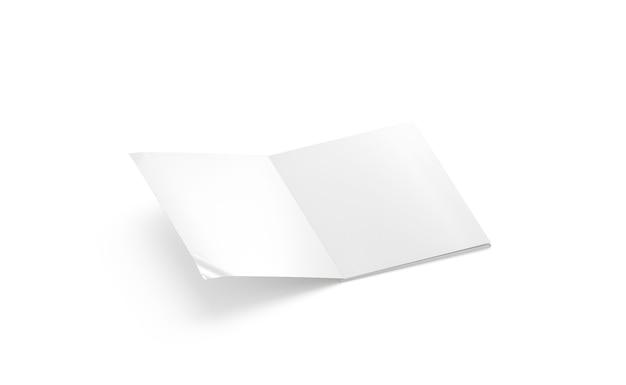 빈 흰색 열린 4 잡지 모형 측면 보기 빈 소프트커버 책 또는 노트북이 격리된 상태로 조롱