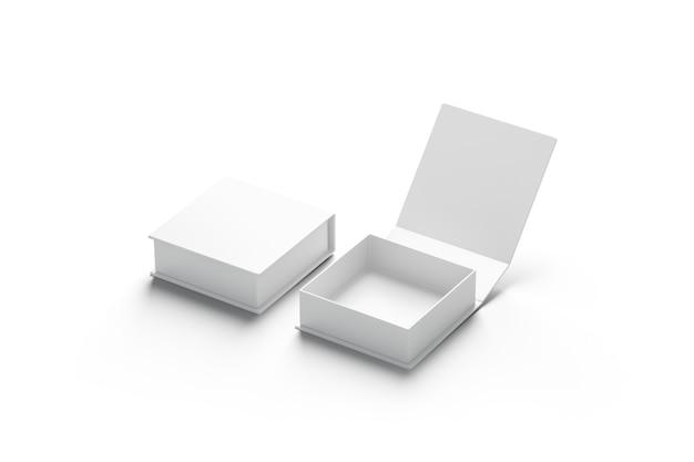 Пустой белый открытый и закрытый набор подарочной коробки, изолированный, вид сбоку, 3d-рендеринг. пустой пакет-сюрприз. прозрачный квадратный контейнер для комплиментов. два праздничных открытых и закрытых подарка.