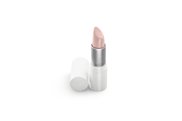 Blank white opened lipstick tube with lid , isolated