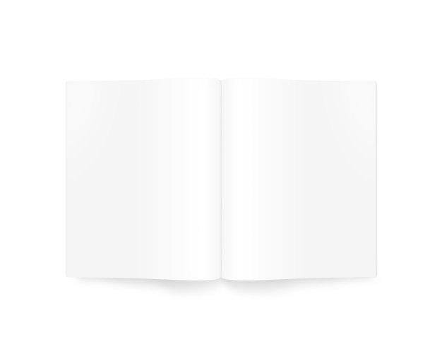 Blank white opened magazine mockup, isolated, top view