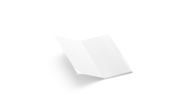 Blank white opened rectangular journal mockup empty soft cover sketchbook or newspaper mock up