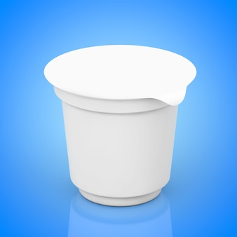 Пустые белые упаковочные контейнеры для йогурта, мороженого или десерта на синем фоне. 3d рендеринг