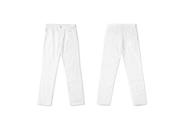 Пустые белые брюки лежа, спереди и сзади, изолированные