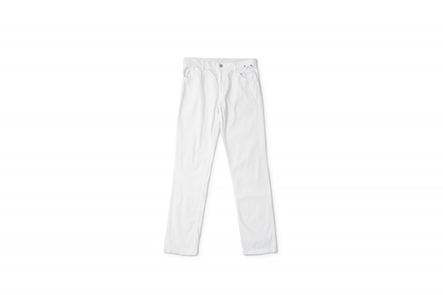 Blank white pants lying, front view