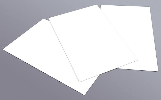 空白の白い紙a-4チラシ、グレーの背景