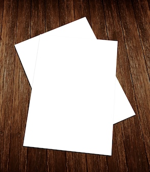 空白の白い紙a-4チラシ、木製の背景